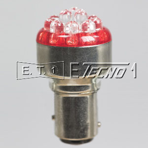 led bulb 12v bay15d 12 led red in box